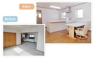 オープン対面キッチンに変更し、食堂スペースを設けました